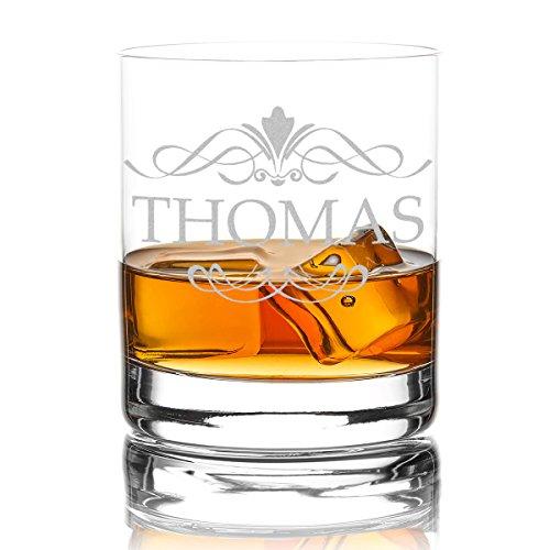las Personalisiert 320 ml Trink-Glas für Whiskey, Rum und Scotch - Geschenk-Idee für Männer - Motiv-Gravur Ornament ()
