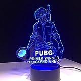 Coole Welt heißen FPS-Spiel Spieler unbekannt Schlachtfelder 3D-Lampe PUBG Gewinner Gewinner Huhn Abendessen 7 Farben ändern LED-Lampe