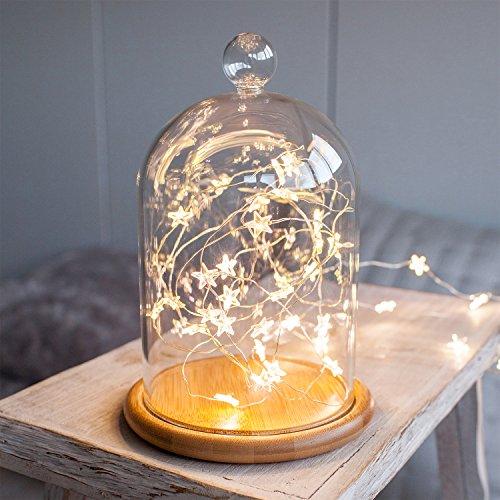 Campana de Cristal Alta 21cm con Base de Bambú y Estrellitas Luminosas LED de Lights4fun