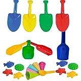 Diverse Sandspielzeug Sandschaufeln 12 Mehlschaufeln + 12 Pflanzenstecher + 16 Sandförmchen + 10 Eistüten Kindergarten Krabbelgruppe