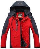 Mochoose Homme Outdoor Mountain Imperméable Coupe-Vent Fleece de Ski et Snowboard à Capuche Veste Vêtement de Sport de Pluie Camping la Pêche Veste de Chasse et Travail Jacket(Rouge,XL)