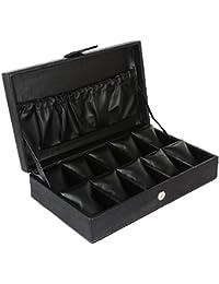Omax 10 Slots Black Wrist Watch Box - Csk01
