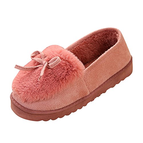 Cantidades Invierno De Gamuza De De Mujer Forro Zapatillas Con Imitación Roja De Bowknot Goma Piel FCEpCq