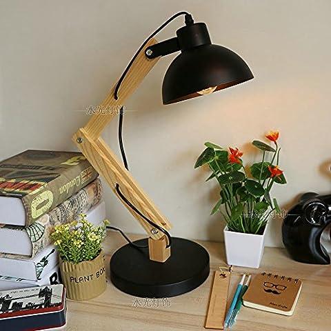 XCH Dazzling DL Lampe de table Lampe de table réglable en bois massif simple et contemporain à la mode de style européen Vêtements créatifs Boutique Studio Miroir Lampe avant Chambre à coucher Lampes décoratives ( Color : Black )