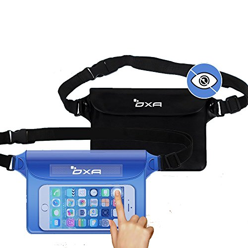 [2 Pack]OXA Waterproof Pouch with Adjustable Waist/Shoulder Strap for Beach, Fishing, Swimming, Boating, Kayaking, Hiking, Perfect Protection for Phone, Camera, Cash, Documents From Water, Sand, Dust and Dirt (Blue+Black)