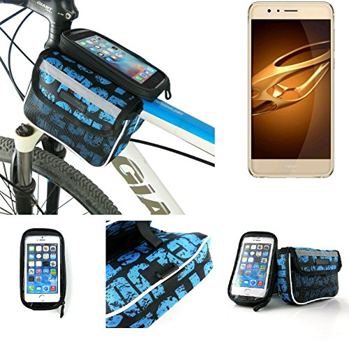 Price comparison product image Bike frame bag Front Top Tube Pannier for Huawei Honor 8 Premium,  Head Tube cycling triple case Bicycle mount cradle Mobile Phone Holder,  blue,  water resistant - K-S-Trade(TM)