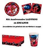Uni que Set Prodigiosa Ladybug Decoración Cumpleaños 16 Niños (16 Platos, 16 Tazas, 1 Mantel) Fiesta