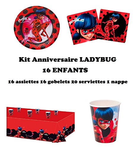 Kit anniversaire Miraculous Ladybug Complet 16 enfants (16 assiettes, 16 gobelets, 20 serviettes, 1 nappe) fête