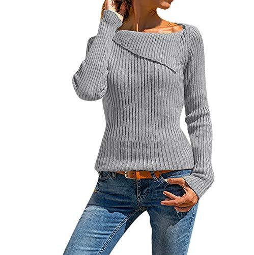 ❤ Femme Mode Casual Couleur Unie Asymétrique Col Basique Pull Pullover Manches Longues Slim Chic T Shirt Tops Simple Blouse feiXIANG (Gris,S)