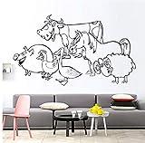 Lovemq Eine Gruppe Von Schwein Henne Ente Kuh Pferd Schafe Kinder Wandaufkleber Tiere Schlafzimmer Dekoration Aushöhlen Vinyl Wandtattoo 59X34 Cm