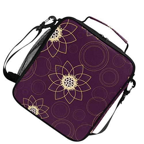 Isolierte Schulter verstellbarer Gurt Wärmer Kühler Lunchpaket Psychedelic Flower Ring für Picknick -