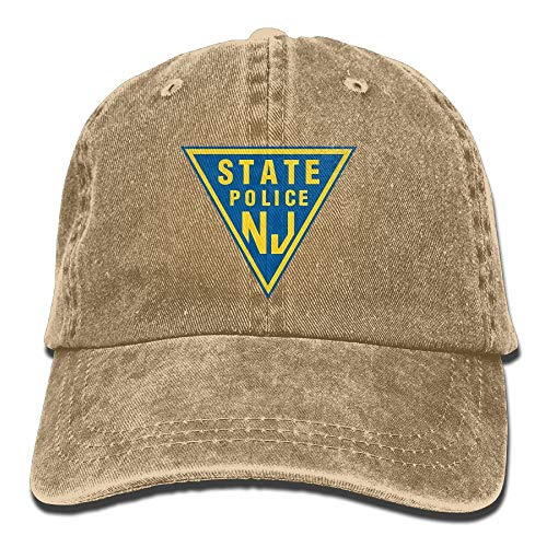 NJ State Police Vintage Adjustable Denim Hat Trucker Cap for Adult Plaid Hat Earflap