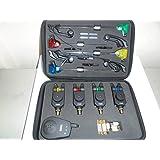 TMC - Avisador de picada para pesca (4 unidades, luz LED, pilas y estuche incluidos)