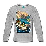 Spreadshirt Yakari Bootstour Kleiner Dachs Regenbogen Kinder Premium Langarmshirt, 110/116 (4 Jahre), Grau meliert