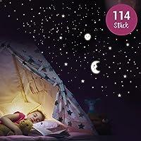 """Wandkings - Adhesivos de pared luminosos, fluorescentes y brillantes en la oscuridad""""Sol, luna y estrellas Juego XL"""" 114 adhesivos en 2 hojas A4"""