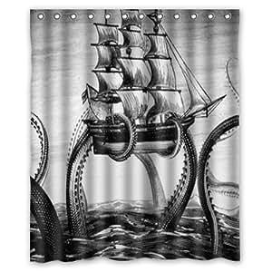 "Octopus custom shower curtain waterproof polyester fabric curtain ""bath"" 60 x 72"