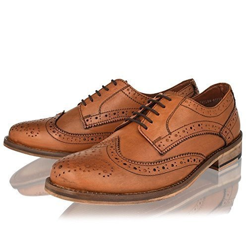 MENS LEATHER FORMAL SHOES BLACK TAN SMART OFFICE OXFORD BROGUES SIZE 6-12 (12, TAN)