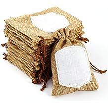 CLE DE TOUS - Bolsa de Organza Bolsitas de tela de saco con etiqueta para regalo para decorar boda bautizo 14x9cm (10pcs)