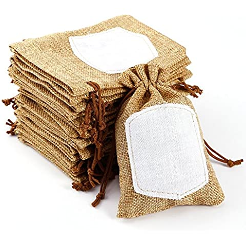 20pcs Bolsa de Organza Arpillera Bolsitas de tela de saco con etiqueta para regalo decorar boda bautizo