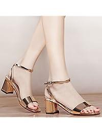 KPHY Sandalias con hebilla hembra en verano con espejo poco profundo, zapatos de moda gruesa todo a juego, dorado...