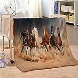 Chenghao's shop Decke Superweich Schönes Laufendes Pferd 3D Lammfell Tragbare Decke Schlafzimmer Schlafsofa 200(H) X150Cm(B)