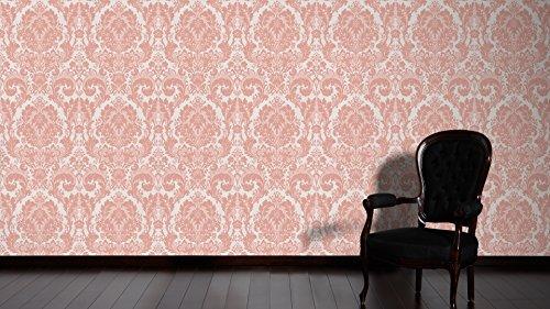 A.S. Création Strukturprofiltapete Kingston Tapete mit Ornamenten barock 10,05 m x 0,53 m metallic rosa Made in Germany 327502 32750-2