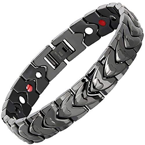 MXXTL Schwarzes Herz Armband Titan Stahl Herren Magnet Armband