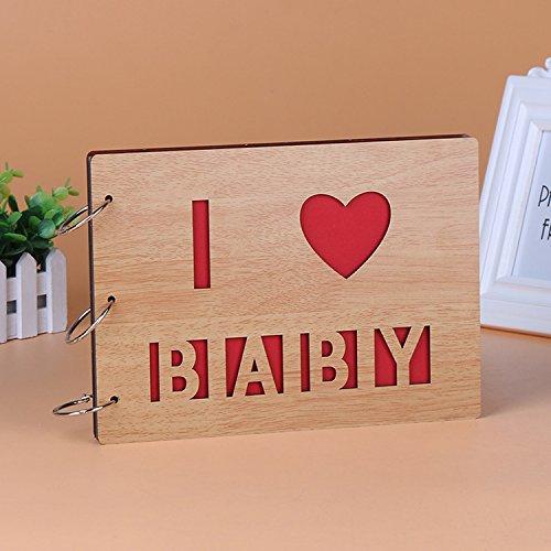 DIY Scrapbook, 25,4cm Holz Cover Foto Album, Jahrestag Memory Buch, Ahorn Farbe Hochzeit Gästebuch, Geschenk I Love Baby (Niedlichen Hochzeit Farben)