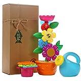 OleOletOy Baby Badespielzeug Set - Süße Blume Wassermühle und 4 STK. Stapelbecher - Kinder BPA frei Spielzeug mit Saugnapf für die Badewanne