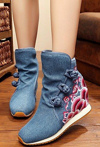 Icegrey Main Brodé Bottines Doublées En Polaire Molleton Bottes De Neige Doublé De La Femme Un jean bleu