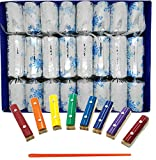 Crackers Ltd Musical Christmas Crackers with Mini Xylophones - Winter Snowflake Design in Silver (Cat F1)
