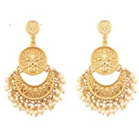 NEW! Touchstone Indian Bollywood Finely Hammered And Embossed Traditional Faux Pearls Charming Look Dangling Chand Baali Half Moon Motif Designer Jewelry Earrings In Antique Gold Tone For Women.