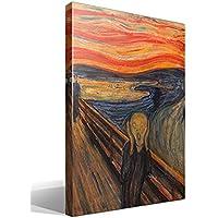 Canvas lienzo bastidor El Grito de Munch versión 3 de Edvard Munch - Ancho: 55cm - Alto: 75cm - Bastidor: 3cm - Imagen alta resolución - Impresión sobre Lienzo de Algodón 100% - Bastidor de madera 3x3cm - reproduccion digital de obras de arte - Cuadro de calidad superior - Fabricado en España