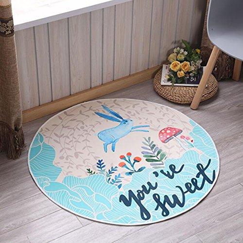 KIMSAI Runder Teppich 3D, Voller Gedruckter Teppich-Schlafzimmer-Wohnzimmer-Couchtisch-Osmane Scherzt Karikatur-Matten-Bett-Bettwäsche,120Cm (Bereich Bettwäsche)