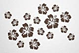 WANDfee® Wandtattoo 16 Hibiskus Blüten AC0610606 Größe Ø 7 - 15 cm, 2 x Ø 15 cm, 4 x Ø 11 cm, 10 x Ø 7 cm Farbe dunkelbraun dunkelbraun