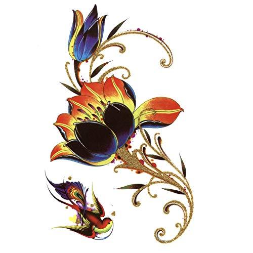 LBBMBC 3er Pack Golden Lotus wasserdicht temporäre Tätowierung Sticker Body Tattoo Männer Beauty Comics (Frau Comic Kostüme)