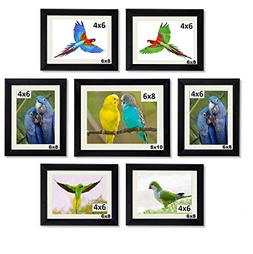 Aadinath Collection photo frames wall hanging 7 Pcs. Set-Black : ACPF-1106