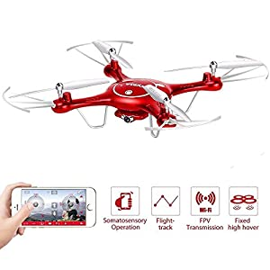 Syma X5UW 2.4GHz 3.0MP Wifi HD Camera 720P Real-time FPV Transmission Quadcopter 2.4G 4CH RC Drone helicopter Quadrocopter with Flight Plan Route App Control Altitude Hold Function With Extra Battery by Syma