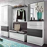 e-combuy Möbel Garderoben-Set in weiß Hochglanz, grau bestehend aus Garderobenschrank, Garderobenpaneel, Bank, Spiegel und Schuhschrank, Gesamtmaß Breite 260 cm Höhe 200 cm Tiefe 40 cm