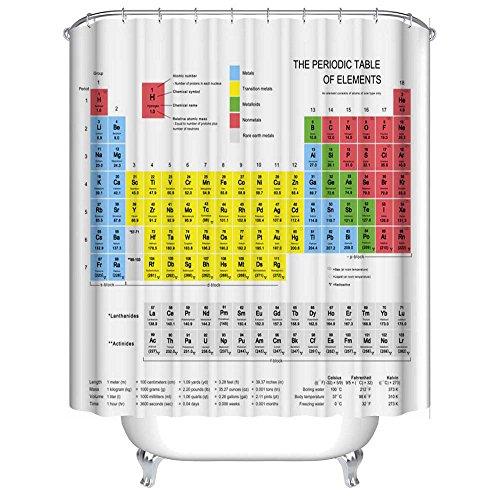 Gaddrt Tableau périodique des éléments chimie rideau de douche avec crochets (70 * 70inch)