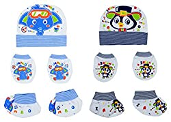 132 New Born Baby Premium Quality Cotton Cap, Mittens and Socks   0-6 Months   Pack of 2   Blue