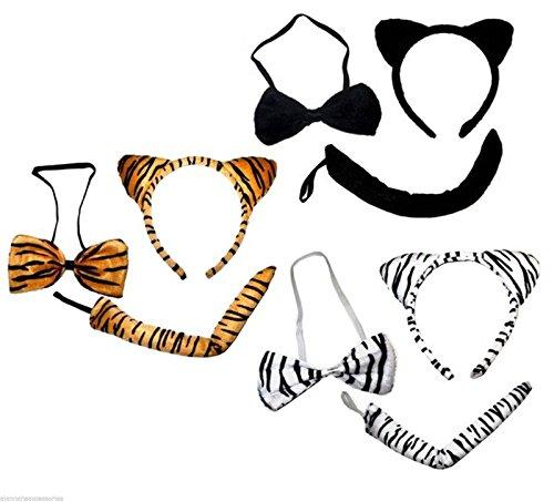 (Tiger Ohren Schwanz und Bogen Outfit Tigger Catwoman Fancy Dress Up Braun Weiß Schwarz)