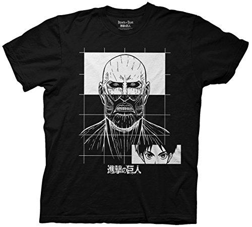Ripple Junction Erwachsene T-Shirt Attack on Titan Grid - Schwarz - X-Groß (Monster High T-shirts Für Erwachsene)