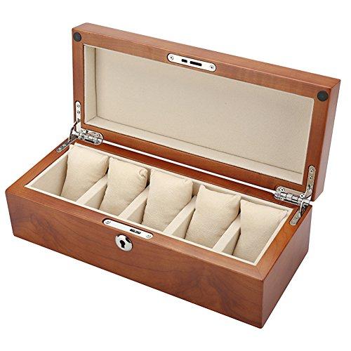 AMCER Vintage Holz Uhr Display Aufbewahrungskoffer Brust mit festen oberen hält, 5 Slots Armband Sammlung Box,B (Metall-brust Schubladen)