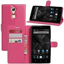 Doogee F5funda, DOOGEE F5Pro Case, hualubro [Kickstand] [Protección Todo Alrededor] Funda de piel sintética Teléfono móvil Carcasa Con Ranura para tarjeta DOOGEE F5/doogee F5Pro 5.5pulgadas Smartphone, piel sintética, rosa (b), For Doogee F5 / Doogee F5 Pro