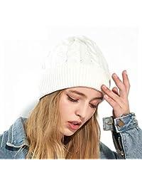 eff9903616dd1 CJC Sombreros Gorra Unisexo De Las Mujeres Grueso De Punto Calentar Invierno  Slouchy Gorrita Tejida Esquí Snowboard (Color   Blanco