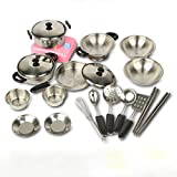 Mr TeckChildren's Chef Pretent Kitchen Playsets Stainless Cookware Toy Pots 18 Pieces For Child Children Toddlers Baby Cookware Toys