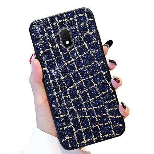 Obesky Glitzer Hülle für Galaxy J3 2017 Blau, Luxus Bling Pailletten Diamant HandyHülle Ultra Dünn Weich TPU + Hart PC Rückschale Kratzfeste Anti Rutsch für Samsung Galaxy J3 2017 SM-J330F