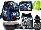 Star Wars 6-Teile Schulranzenset Schulranzen, Federmäppchen 2-Fach gefüllt, Turnsack, Lunchbox, Trinkflasche, Regenschutz Jungen