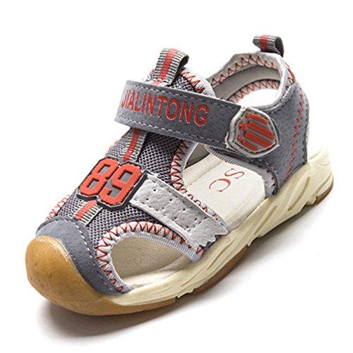 XI-GUA Kleinkind Jungen Mädchen Sommer Atmungsaktive Weiche Sohle Sport Sandalen Geschlossene Zehe Sportlich Strand Schuhe (Schuhe Rot-glitzernden Kinder)